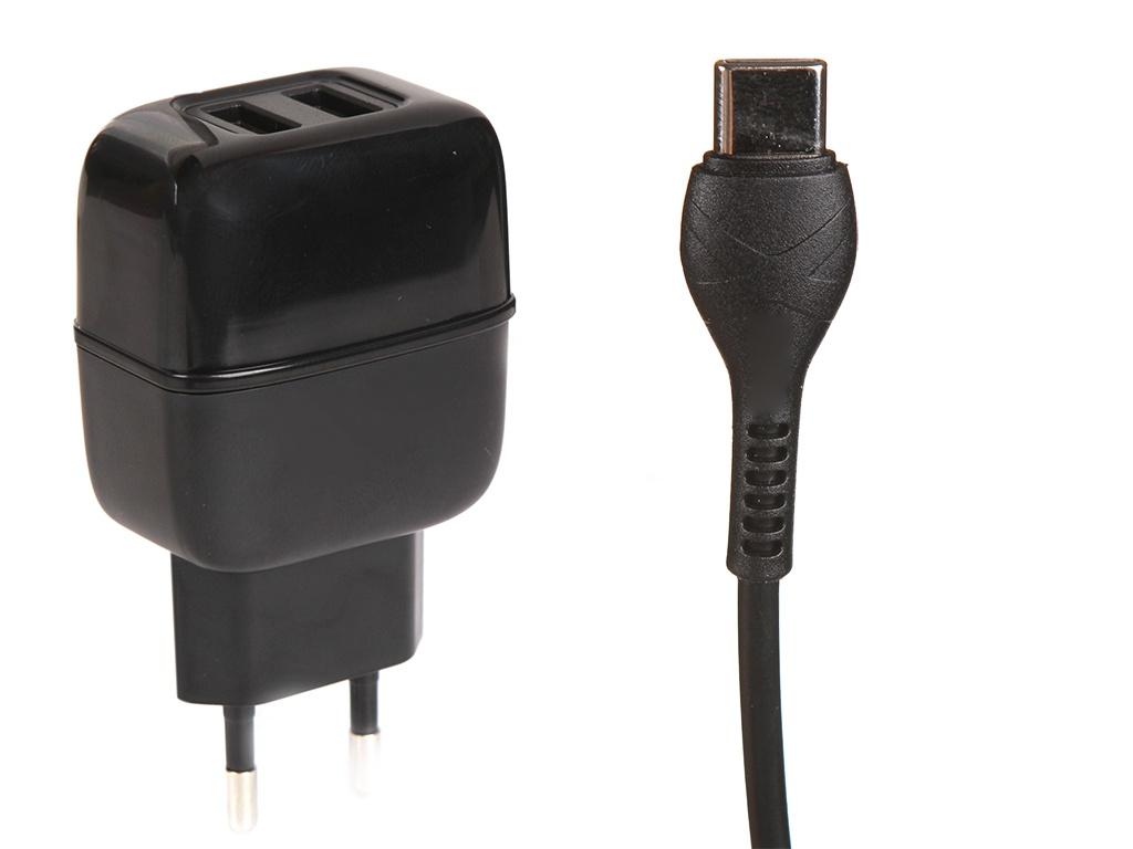 Зарядное устройство Hoco C77A Highway 2xUSB + кабель Type-C Black