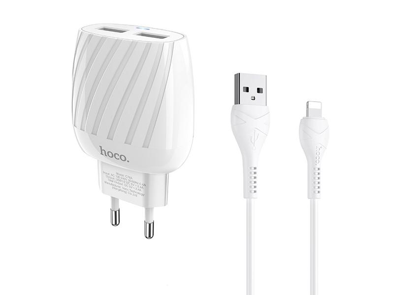 Зарядное устройство Hoco C78A Max Energy 2xUSB + кабель Lightning