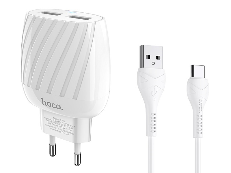 Зарядное устройство Hoco C78A Max Energy 2xUSB + кабель Type-C