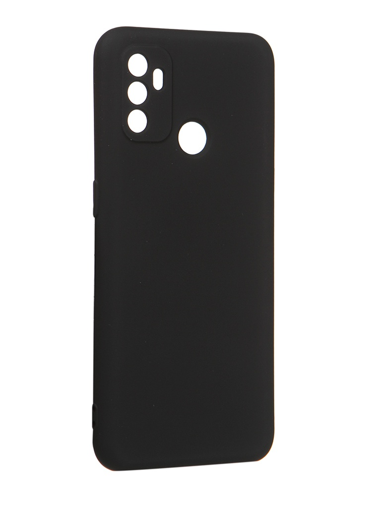 Чехол с микрофиброй DF для Oppo A53 Silicone Black oOriginal-08