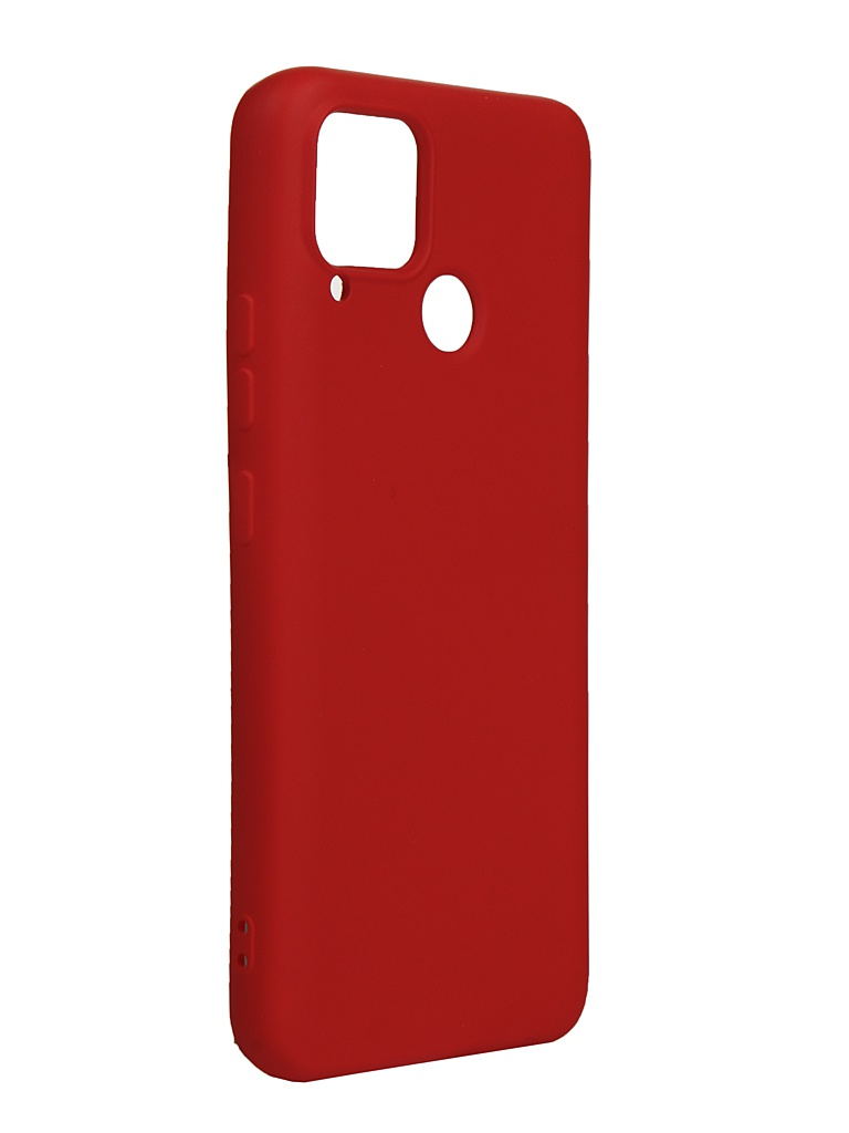 Чехол с микрофиброй DF для Realme C15 Silicone Red rmOriginal-06