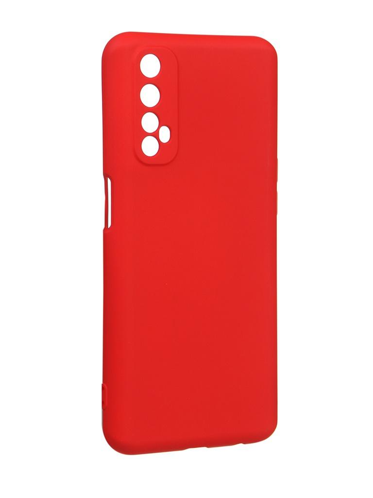 Чехол с микрофиброй DF для Realme 7 Silicone Red rmOriginal-08