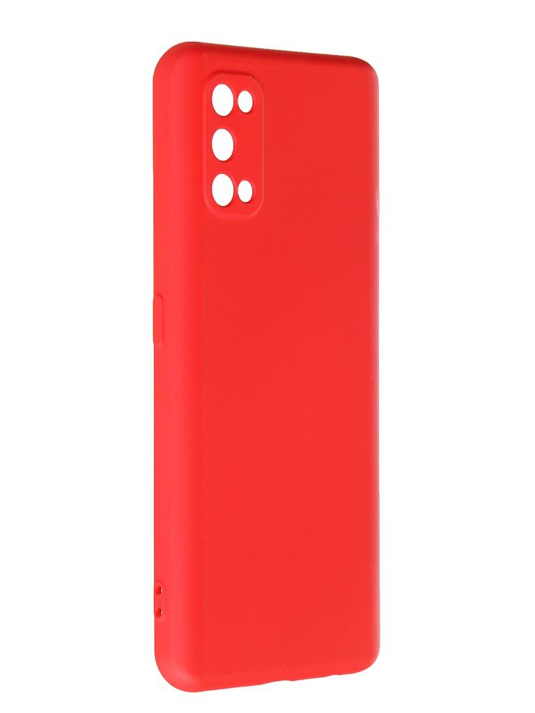 Чехол с микрофиброй DF для Realme 7 Pro Silicone Red rmOriginal-09