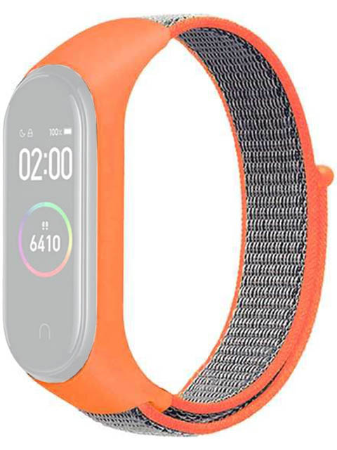 Aксессуар Ремешок DF для Xiaomi Mi Band 3 / 4 5 Nylon Orange-Grey xiNylonband-01