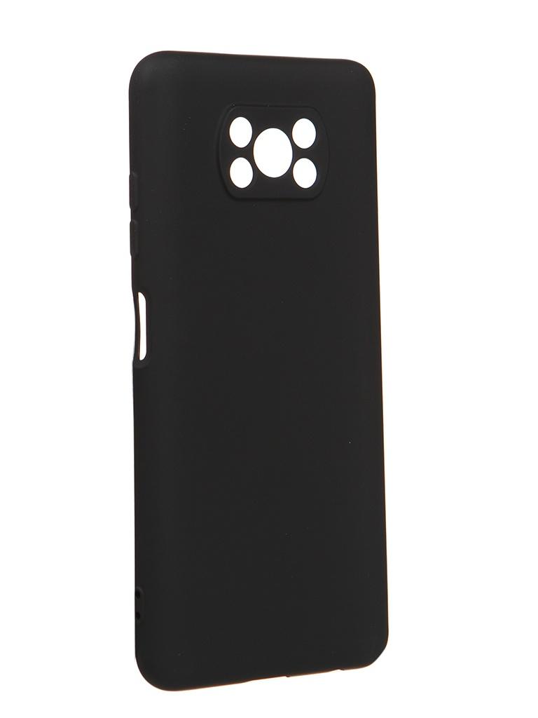 Чехол DF для Xiaomi Poco X3 Silicone Black poOriginal-02