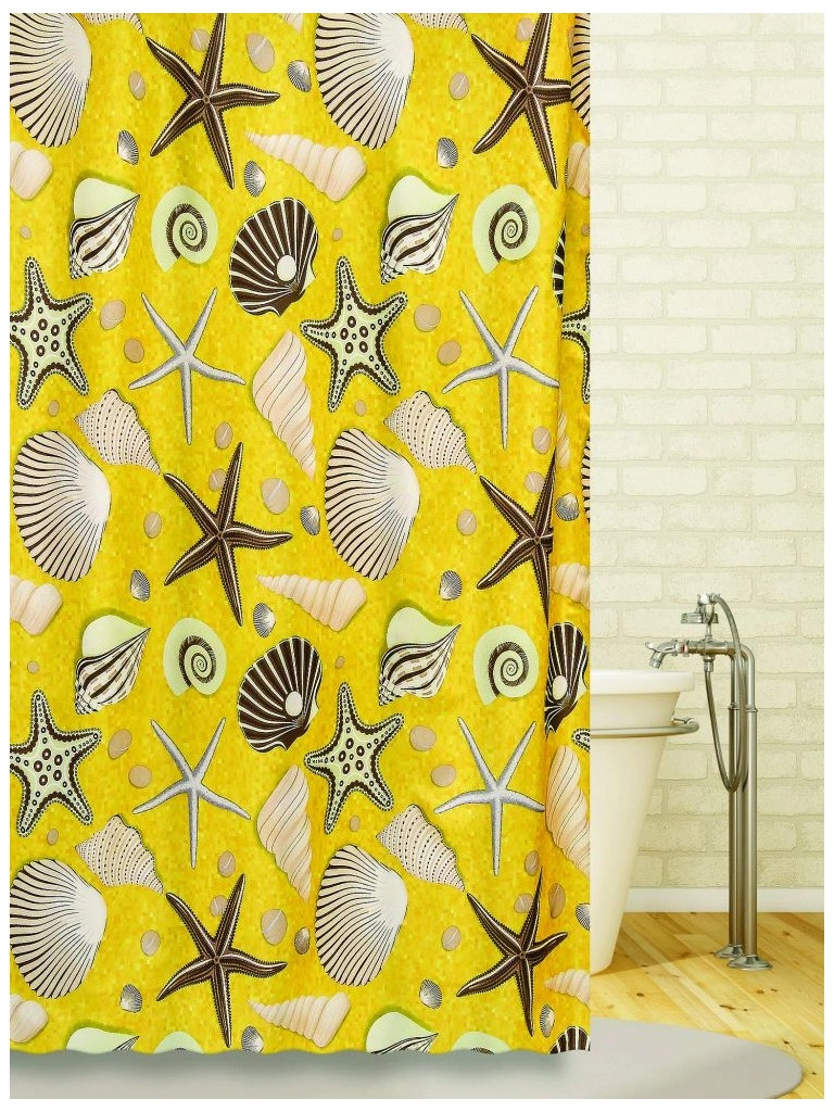 Шторка Bath Plus Seabed Sight 180x180 Yellow-Beige ch-1205