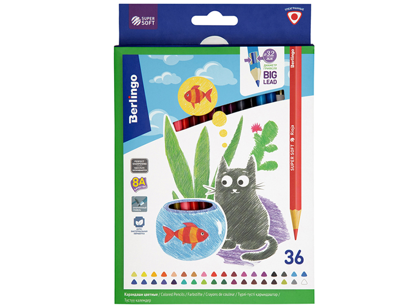 Фото - Карандаши цветные Berlingo SuperSoft Жил-был кот 36 цветов SS00536 berlingo карандаши цветные пластиковые цирк 18 цветов cp 04812