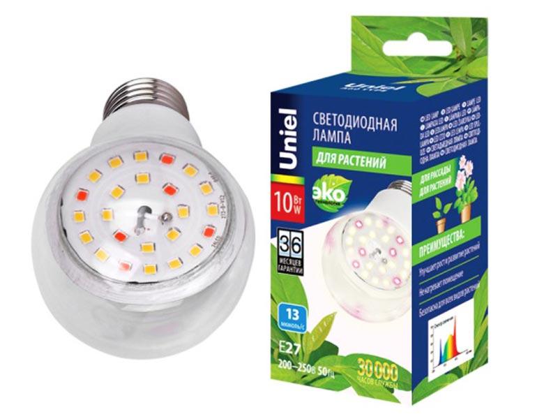 Светодиодная фитолампа Uniel LED-A60-10W/SPFB/E27/CL PLP30WH UL-00007404
