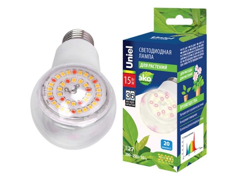 Светодиодная фитолампа Uniel LED-A60-15W/SPFB/E27/CL PLP30WH UL-00007405