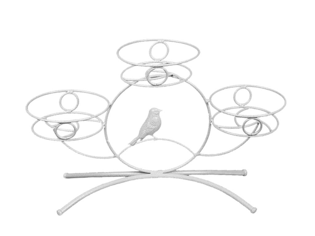 Кашпо Подставка для цветов ЗМИ Камелия-3 White Silver ПДЦ238БС