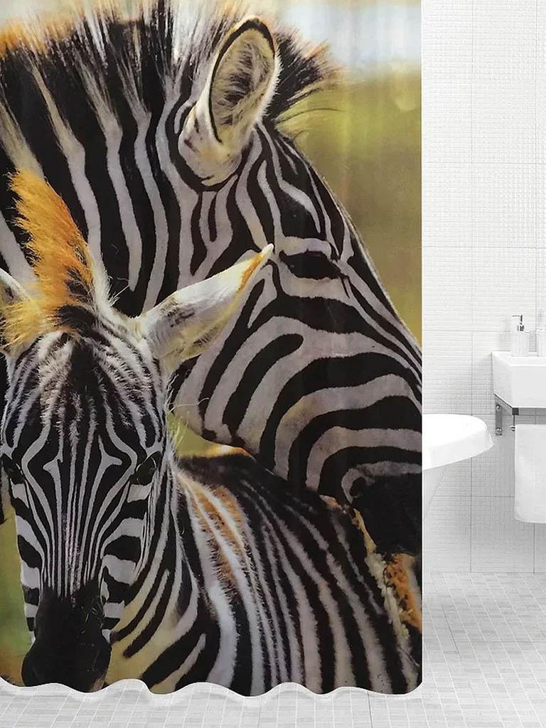 Шторка Bath Plus Zebra Family 180x200cm DSP3032