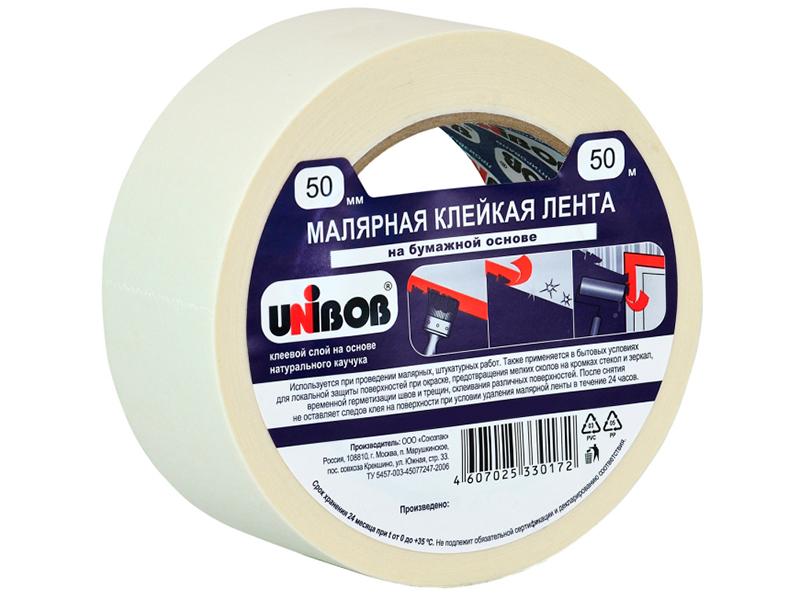 Клейкая лента Unibob Малярная 72mm x 50m 76077