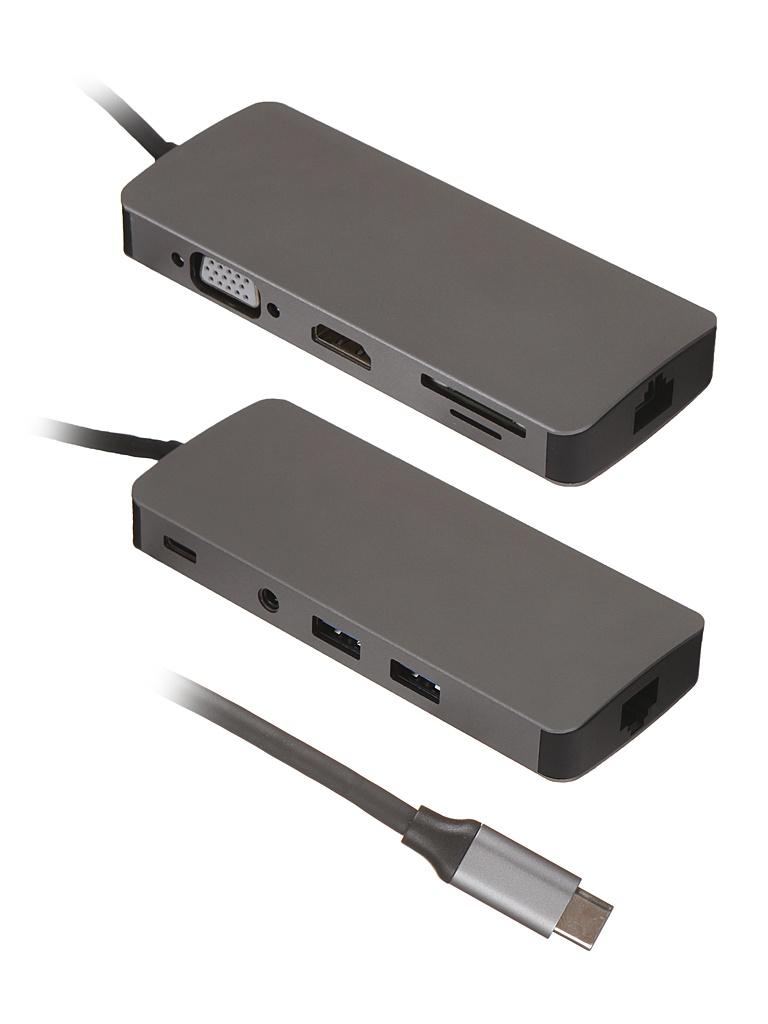 Хаб USB Palmexx 9в1 USB-C - HDMI+VGA+2xUSB 3.0+USB-C+CR+AUX+LAN PX/HUB-013