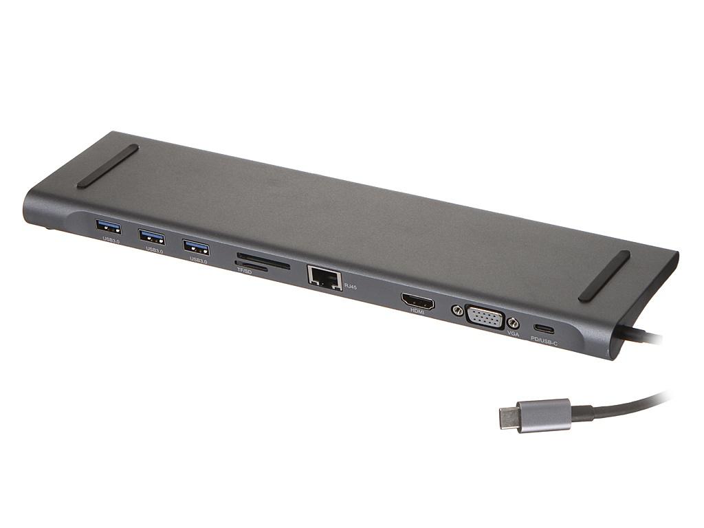 Док-станция Palmexx 10в1 USB-C - HDMI+VGA+3xUSB 3.0+USB-C+CR+LAN PX/HUB-DST-10IN1