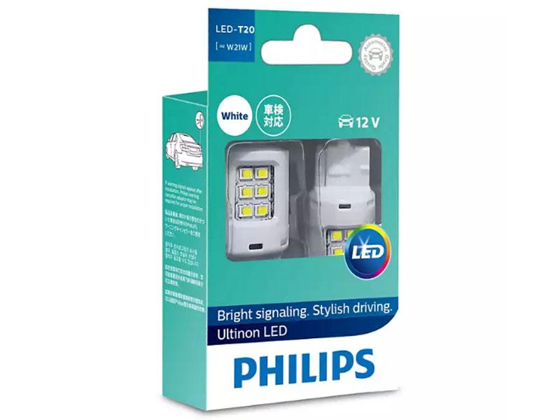 Лампа Philips White Ultinon LED W21W W3x16d 12V-LED 2.5W 11065ULWX2 (2 штуки)