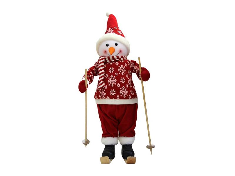 Игрушка Winter Glade Снеговик на лыжах в красном костюме 66cm М68