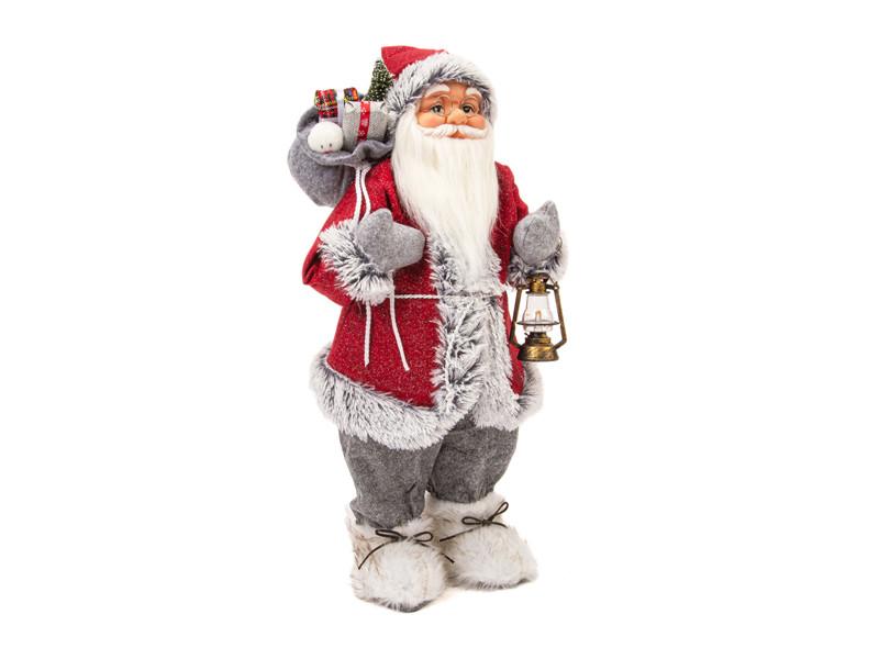 Игрушка Winter Glade Дед Мороз с фонарем 60cm Red-Grey M2124