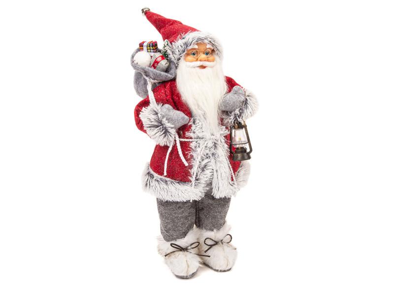 Игрушка Winter Glade Дед Мороз с фонарем 46cm Red-Grey M2118