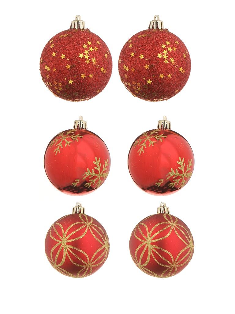 Украшение Christmas Goods Набор шаров 8cm 6шт Red 81075G003