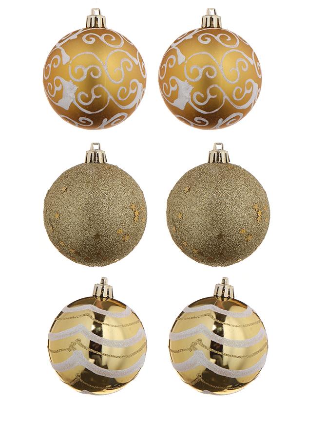 Украшение Christmas Goods Набор шаров 8cm 6шт Gold 81075G001