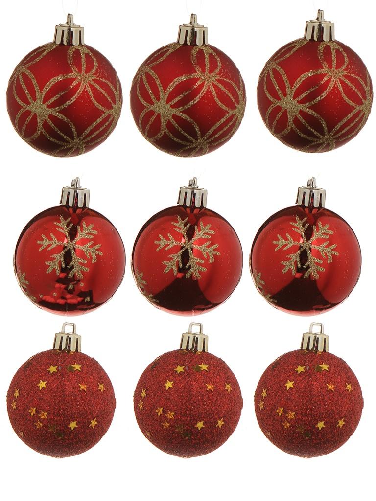 Украшение Christmas Goods Набор шаров 6cm 9шт Red 81074G003