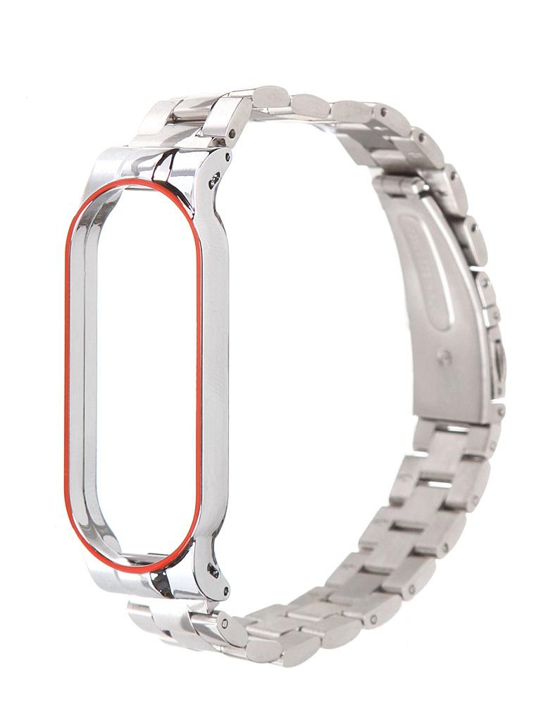 Aксессуар Ремешок Bruno для Xiaomi Mi Band 5 Metallico Silver-Red Stripe 5229