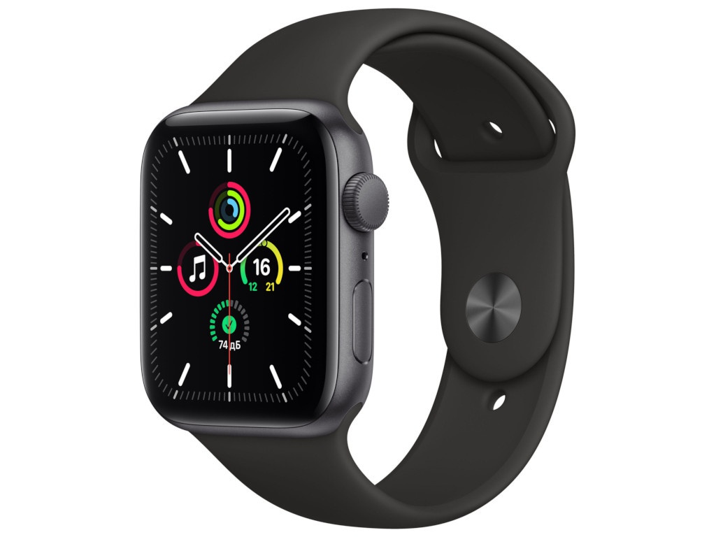 Умные часы APPLE Watch SE 44mm Space Grey Aluminium Case with Black Sport Band MYDT2RU/A Выгодный набор + серт. 200Р!!!