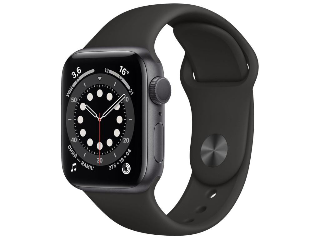 Умные часы APPLE Watch Series 6 40mm Space Grey Aluminium Case with Black Sport Band MG133RU/A Выгодный набор + серт. 200Р!!!