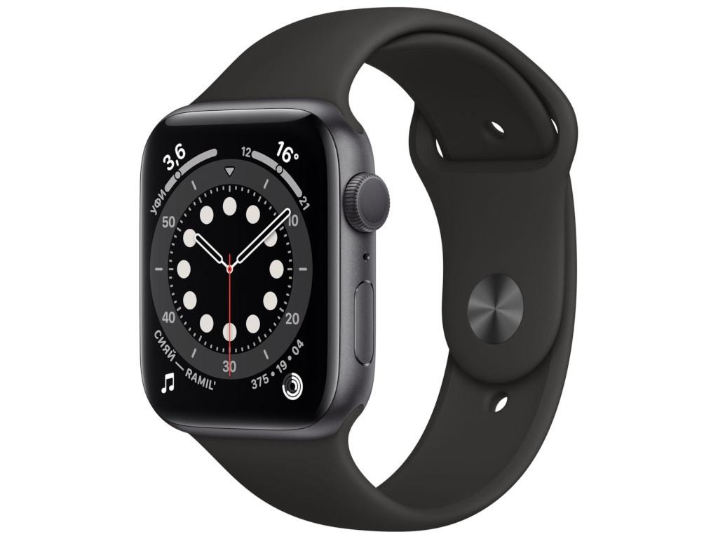 Умные часы APPLE Watch Series 6 44mm Space Grey Aluminium Case with Black Sport Band M00H3RU/A Выгодный набор + серт. 200Р!!!