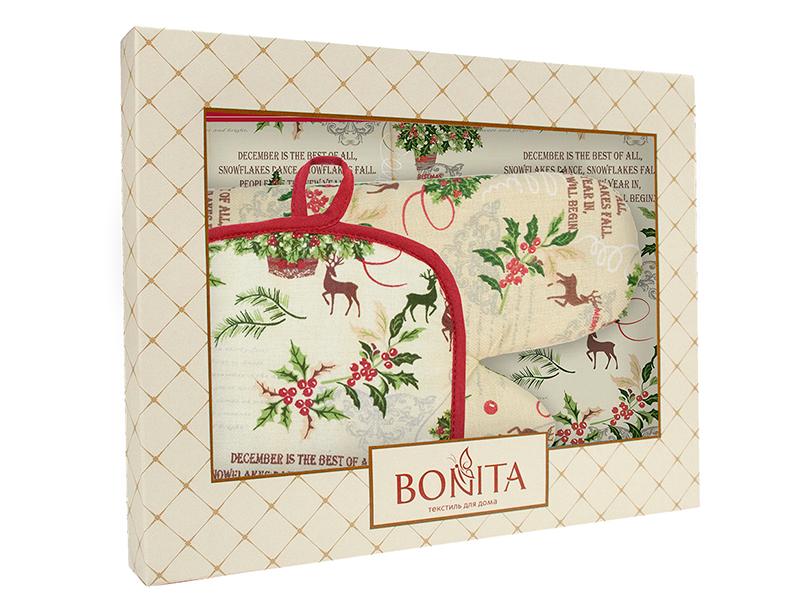 Кухонный набор Bonita Зимний лес: фартук, рукавица, прихватка 11010820602