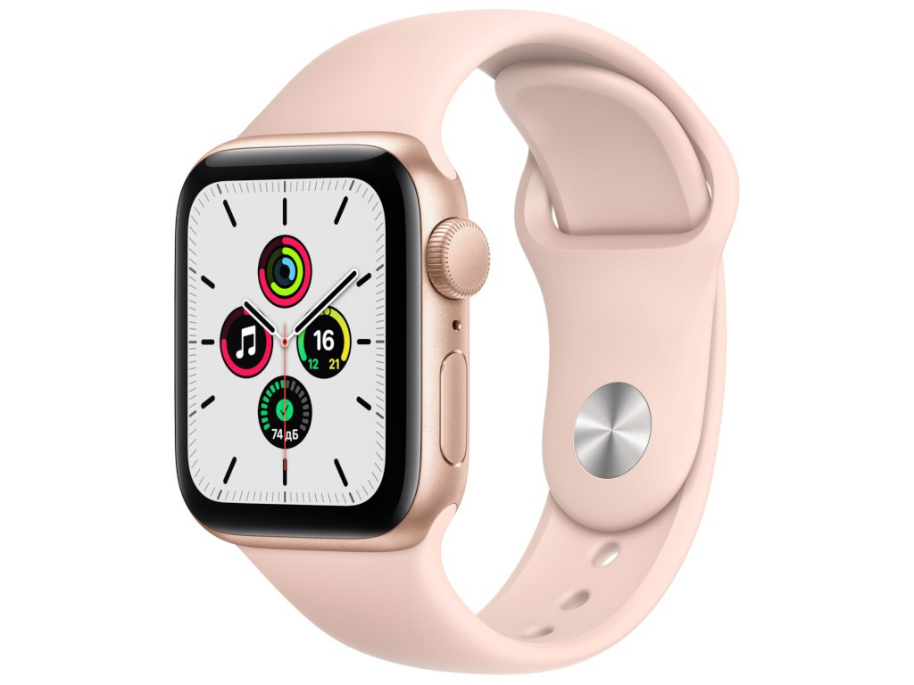 Умные часы APPLE Watch SE 40mm Gold Aluminium Case with Pink Sand Sport Band MYDN2RU/A Выгодный набор + серт. 200Р!!! умные часы сanyon cns sw75pp 1 22inches ips full touch screen aluminium plastic body ip68 waterproof multi sport mode with swimming mode compatibility with ios and android pink