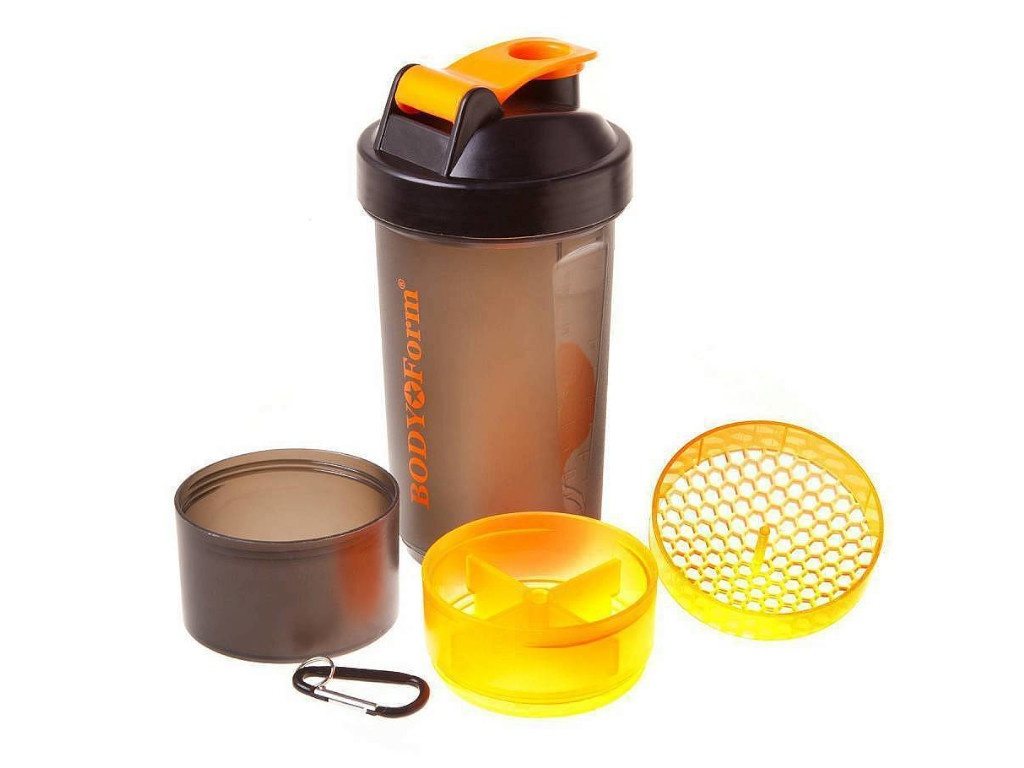 Шейкер BodyForm 600ml BF-SSH02-600 Black-Orange