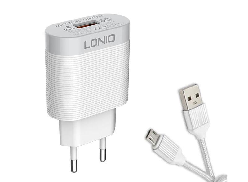 Зарядное устройство Ldnio A303Q 1xUSB + Cable Micro USB White LD_B4368