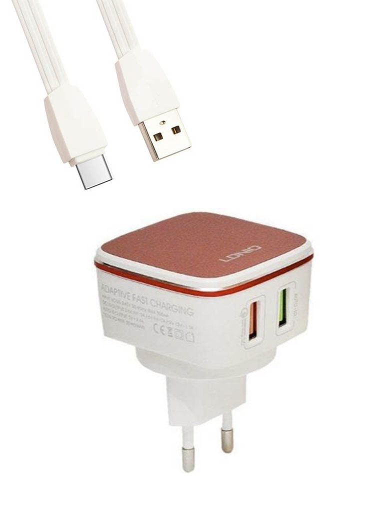 Зарядное устройство Ldnio A2405Q 2xUSB + Cable Micro USB White-Red LD_B4362