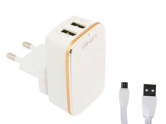 Зарядное устройство Ldnio A2204 2xUSB + Cable Micro USB White-Gold LD_B4387
