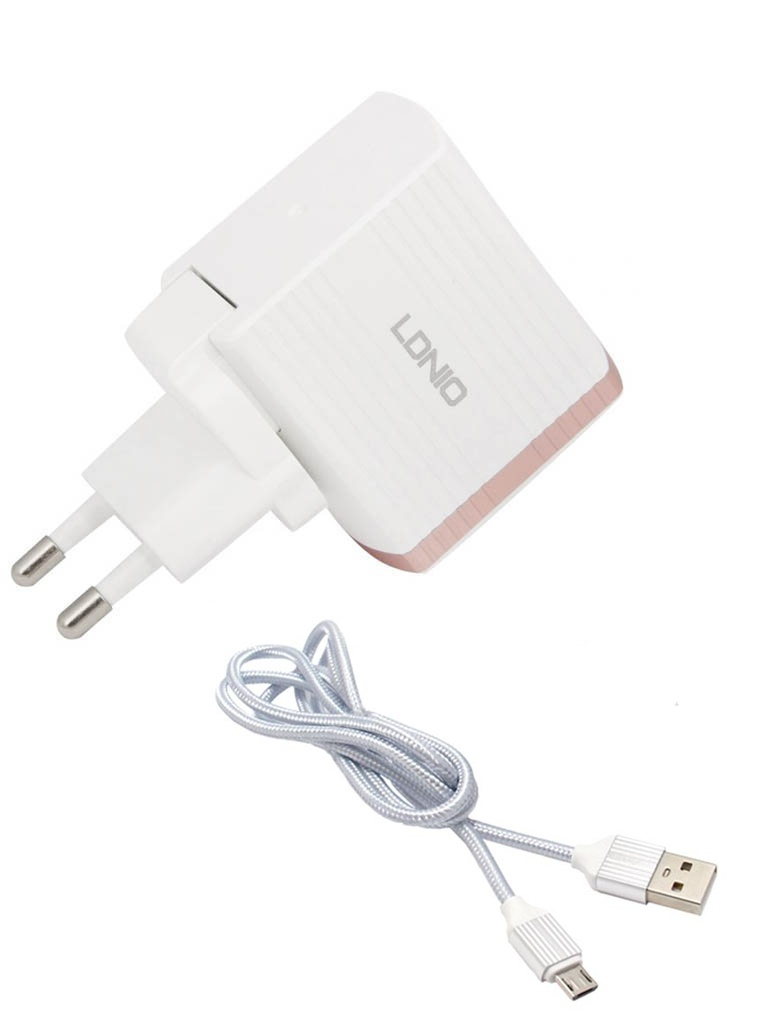 Зарядное устройство Ldnio A1302Q 1xUSB + Cable Micro USB White-Gold LD_B4365