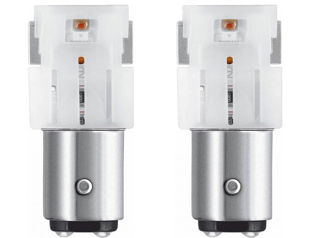 Лампа Osram P21/5W 12V-2.0/0.4W (BAY15d) LED Amber 2шт 1458YE-02B