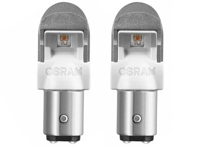 Лампа Osram P21/5W 12V-2.0/0.4W (BAY15d) LED Amber 2шт 1557YE-02B
