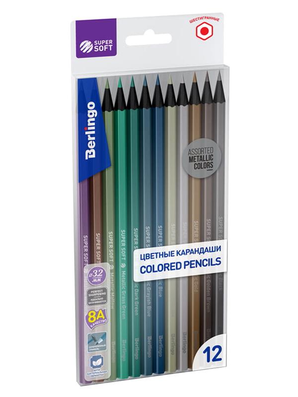 Фото - Карандаши цветные Berlingo SuperSoft 12 цветов SSM0506 berlingo карандаши цветные пластиковые цирк 18 цветов cp 04812