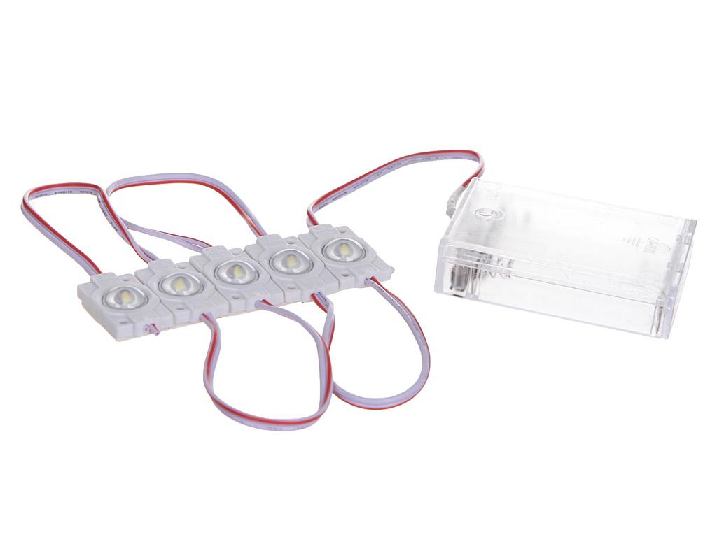 Светодиодный модуль линзованный URM SMD 2835 1LED 5V 0.6W 6500K IP67 5шт с блоком батареек Cold White L10014