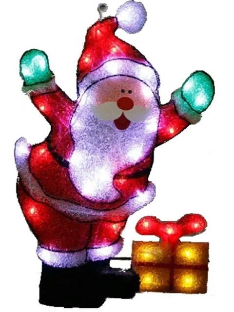 Светящееся украшение SnowHouse Панно Дед Мороз с подарком PKQE07SW22/1