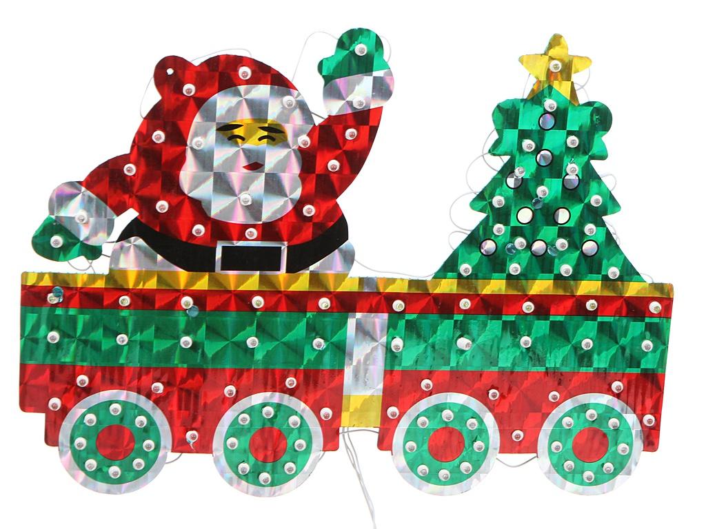 Светящееся украшение SnowHouse Панно Дед Мороз на поезде LDYGB101SATN-2W