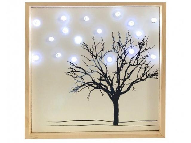 Светящееся украшение SnowHouse Картина Дерево в снегу LKW1-18WW-BO