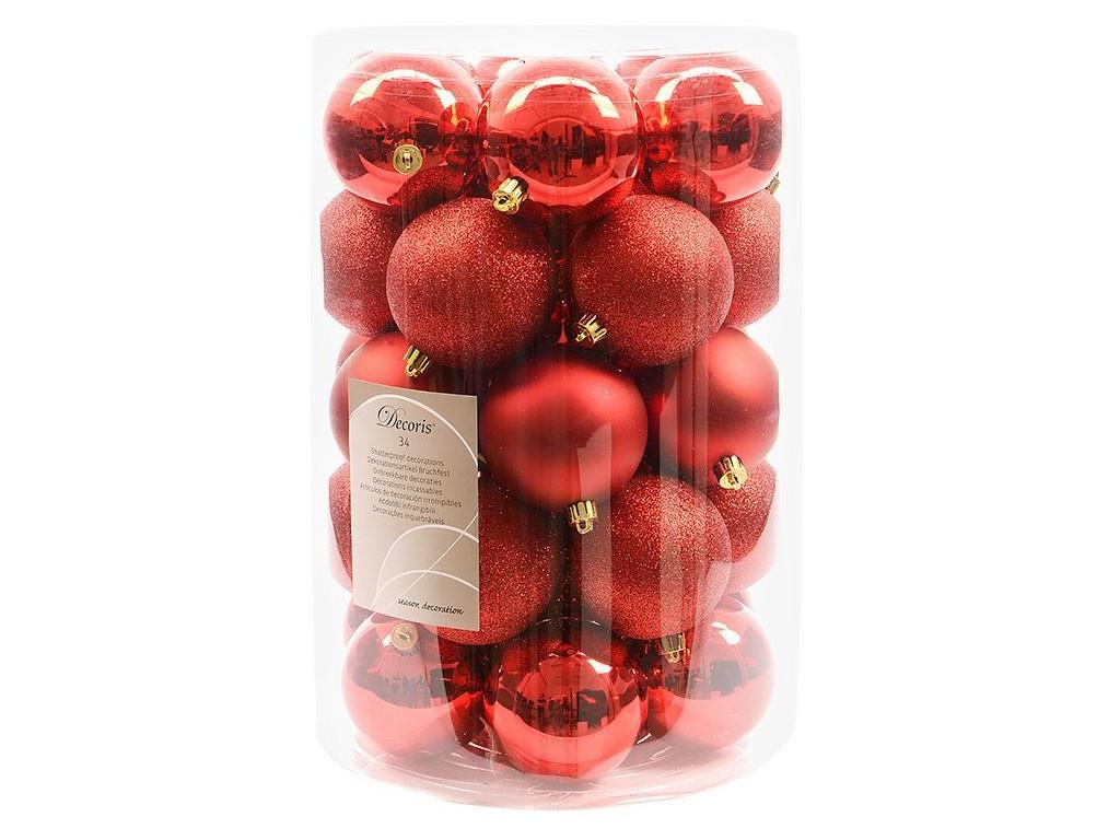 Набор шаров Kaemingk Красная коллекция 80mm 34шт 023306 / 155293-kaemingk