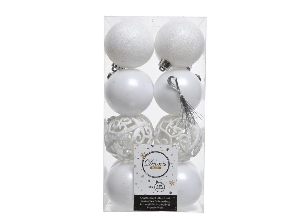 Набор шаров Kaemingk Ансамбль с изюминкой 60mm 16шт White 906470 / 167146-kaemingk