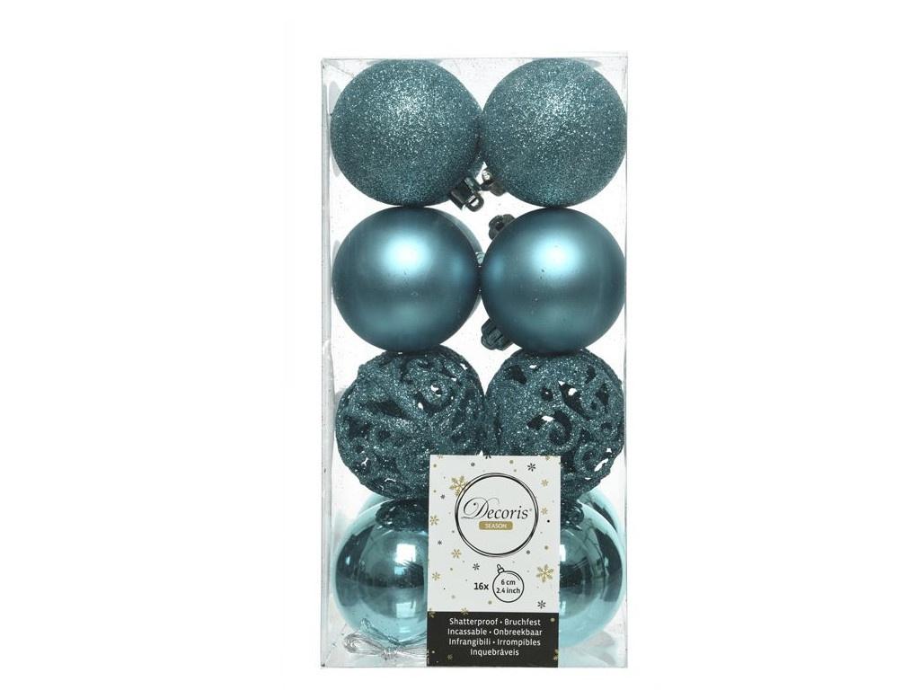 Набор шаров Kaemingk Ансамбль с изюминкой 60mm 16шт Turquoise 020894 / 167149-kaemingk