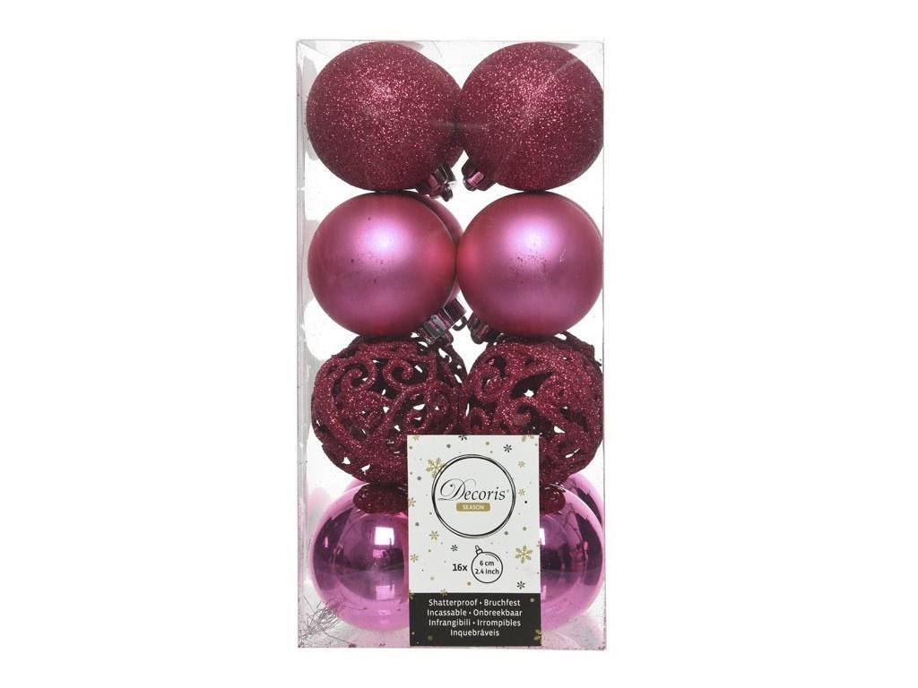 Набор шаров Kaemingk Ансамбль с изюминкой 60mm 16шт Crimson 020895 / 167150-kaemingk