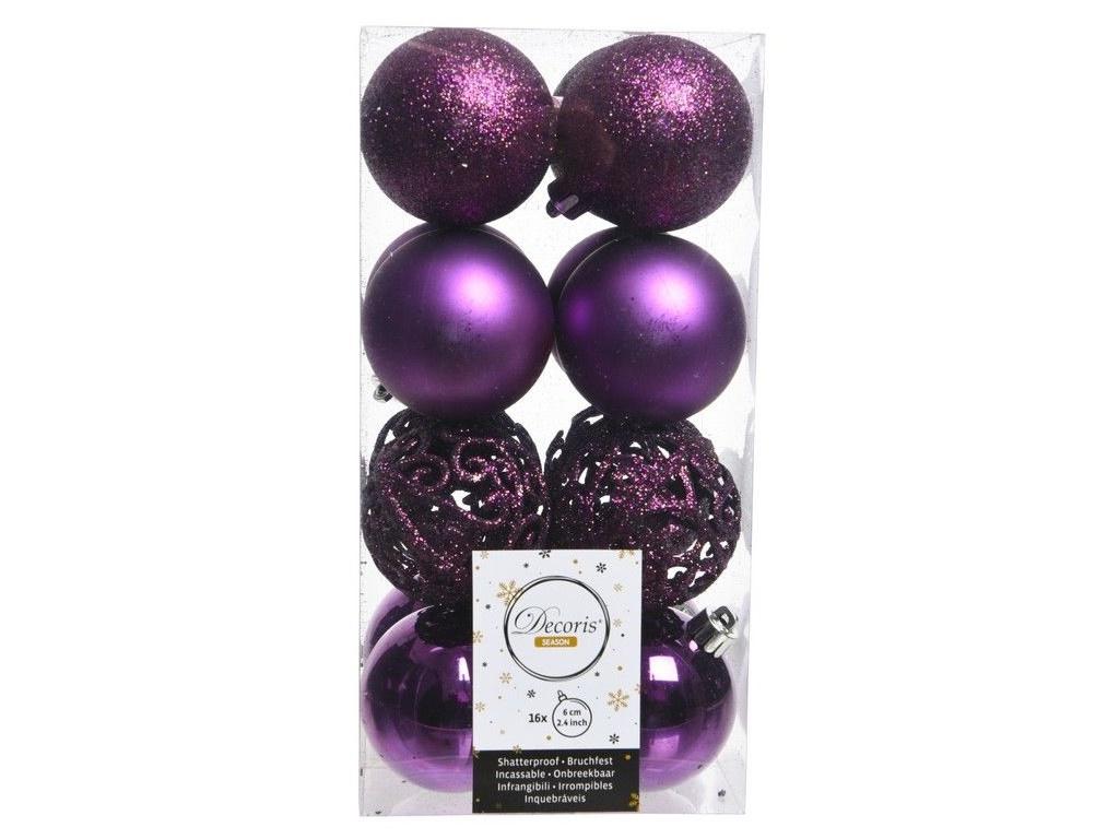 Набор шаров Kaemingk Ансамбль с изюминкой 60mm 16шт Purple 020882 / 167156-kaemingk