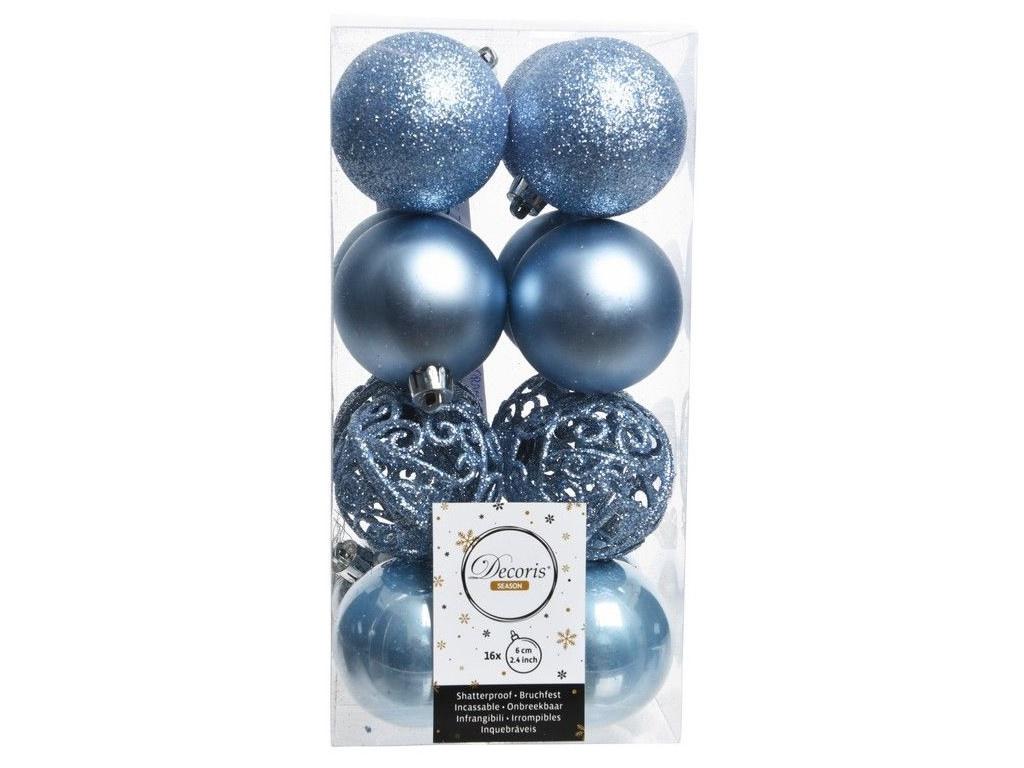 Набор шаров Kaemingk Ансамбль с изюминкой 60mm 16шт Light Blue 020879 / 167155-kaemingk