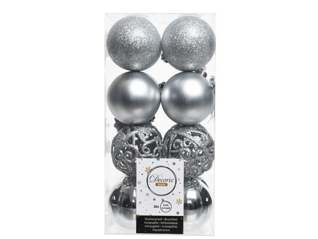 Набор шаров Kaemingk Ансамбль с изюминкой 60mm 16шт Silver 020851